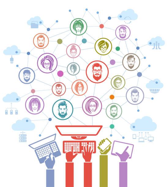 ilustrações, clipart, desenhos animados e ícones de conceito social da rede - social media