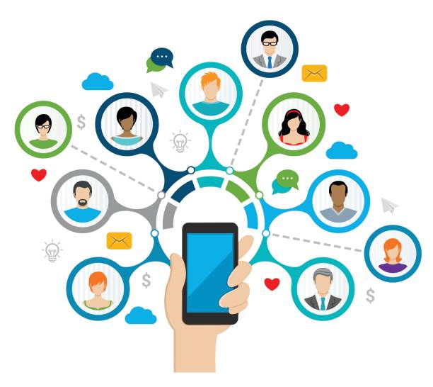 ilustraciones, imágenes clip art, dibujos animados e iconos de stock de concepto de red social  - infografías de redes sociales