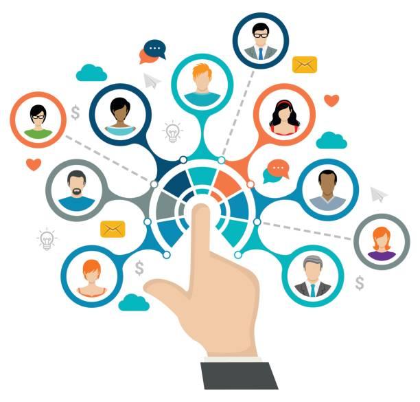 social network concept - social media stock illustrations