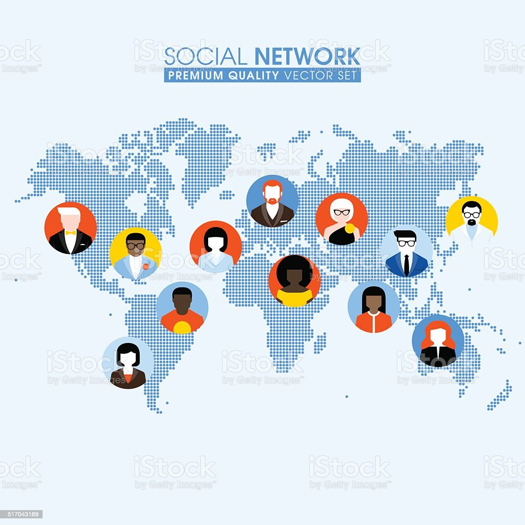 Social network concept with communicating people on dotted world social network concept with communicating people on dotted world map royalty free stock vector art gumiabroncs Gallery