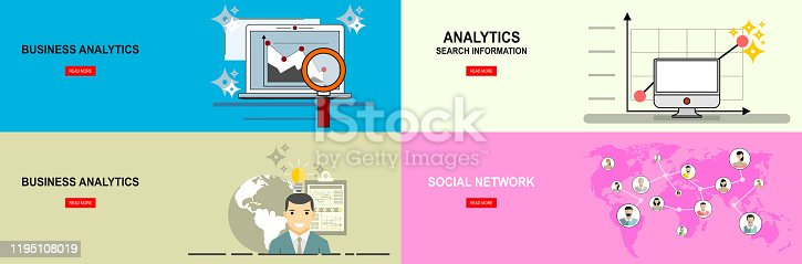 istock Social Network Concept.Business analytic graph report . business investment planning.Flat design 1195108019