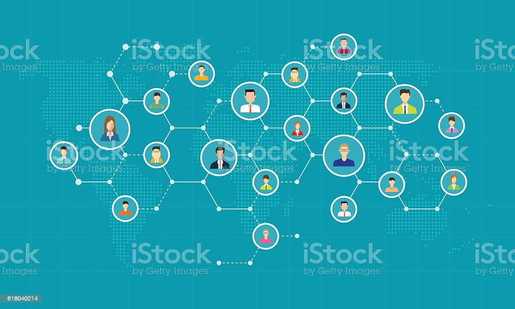 social network connection for online business background vector art illustration