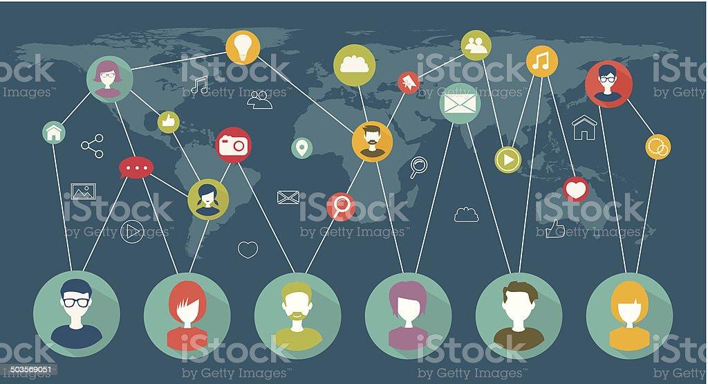 social network flat concept vector art illustration