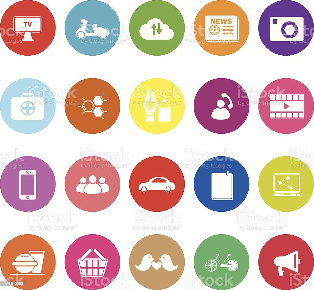 Social network flat icons on white background vector art illustration