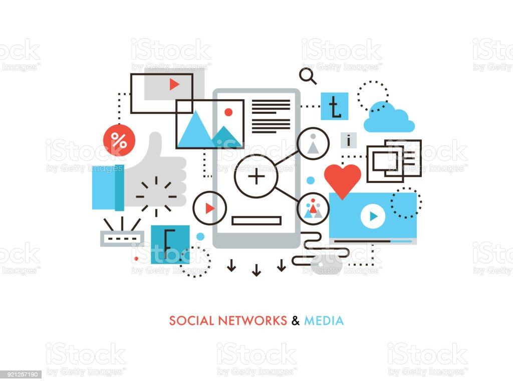 Social network flat line illustration vector art illustration