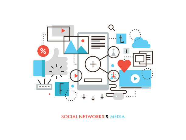 social network flat line illustration - contented emotion stock illustrations