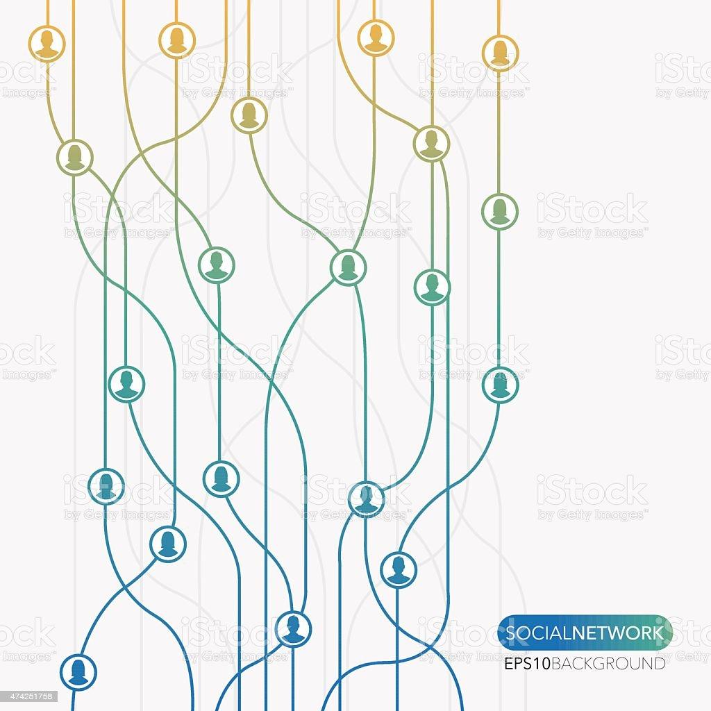 Social network flow minimal background vector art illustration