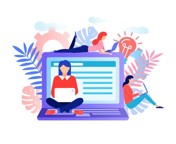 Soziales Netzwerk, Freelancer-Konzept. – Vektorgrafik