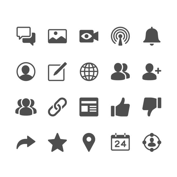 Social network glyph icons vector art illustration