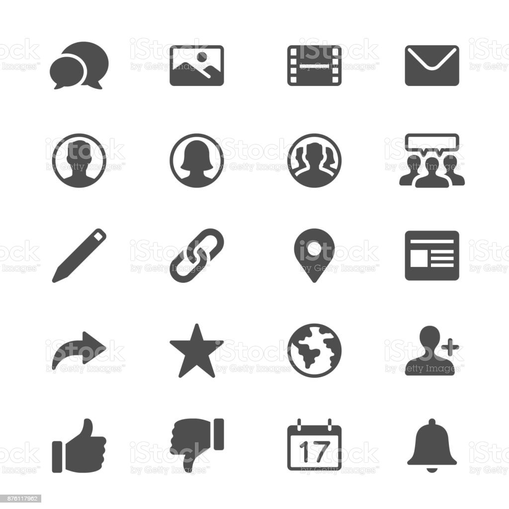 social network glyph icons vector art illustration