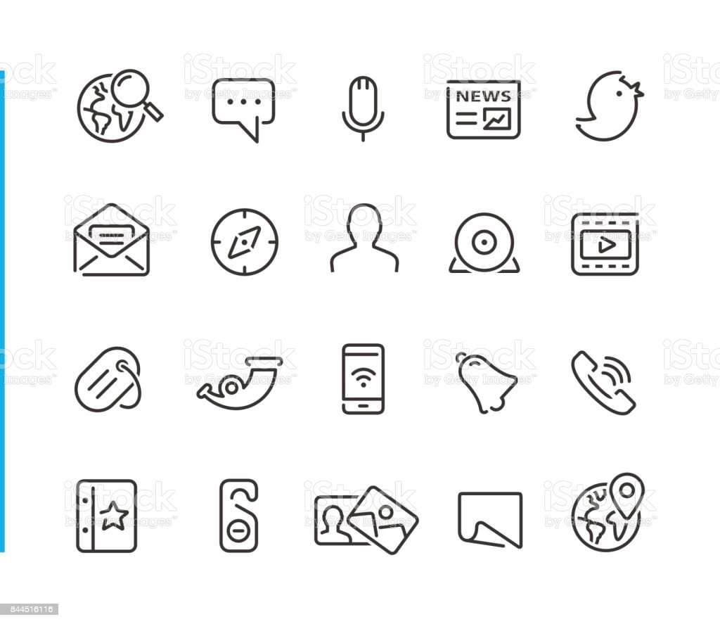 Social Network Icon Set // Blue Line Series vector art illustration
