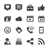 social network icon set, vector eps10.