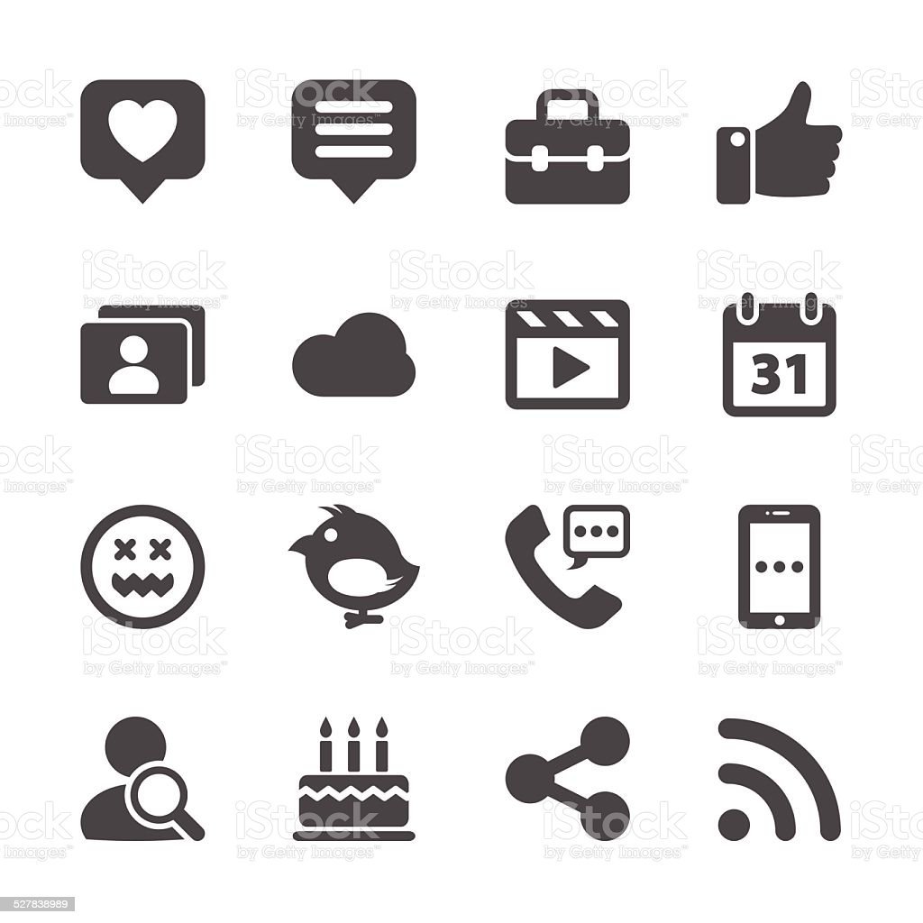 social network icon set, vector eps10 vector art illustration