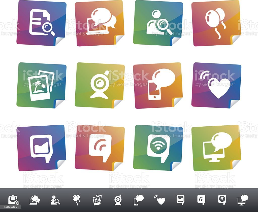 Social Network Icons | Colorful Stickers royalty-free stock vector art