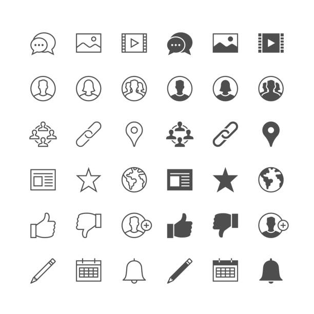 Social network icons, included normal and enable state. – Vektorgrafik