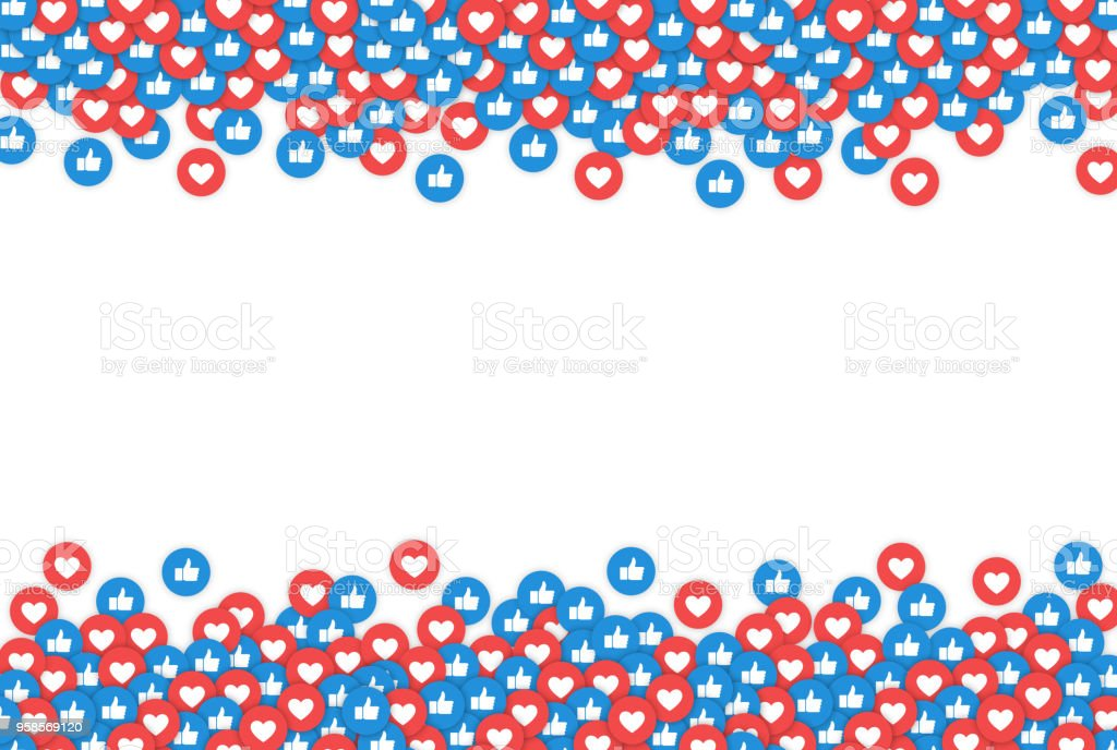 Social Network Icons, Likes. Background for Web, Internet, App, Advertisement, Promotion, Marketing, SMM, CEO, Business. Vector illustration.