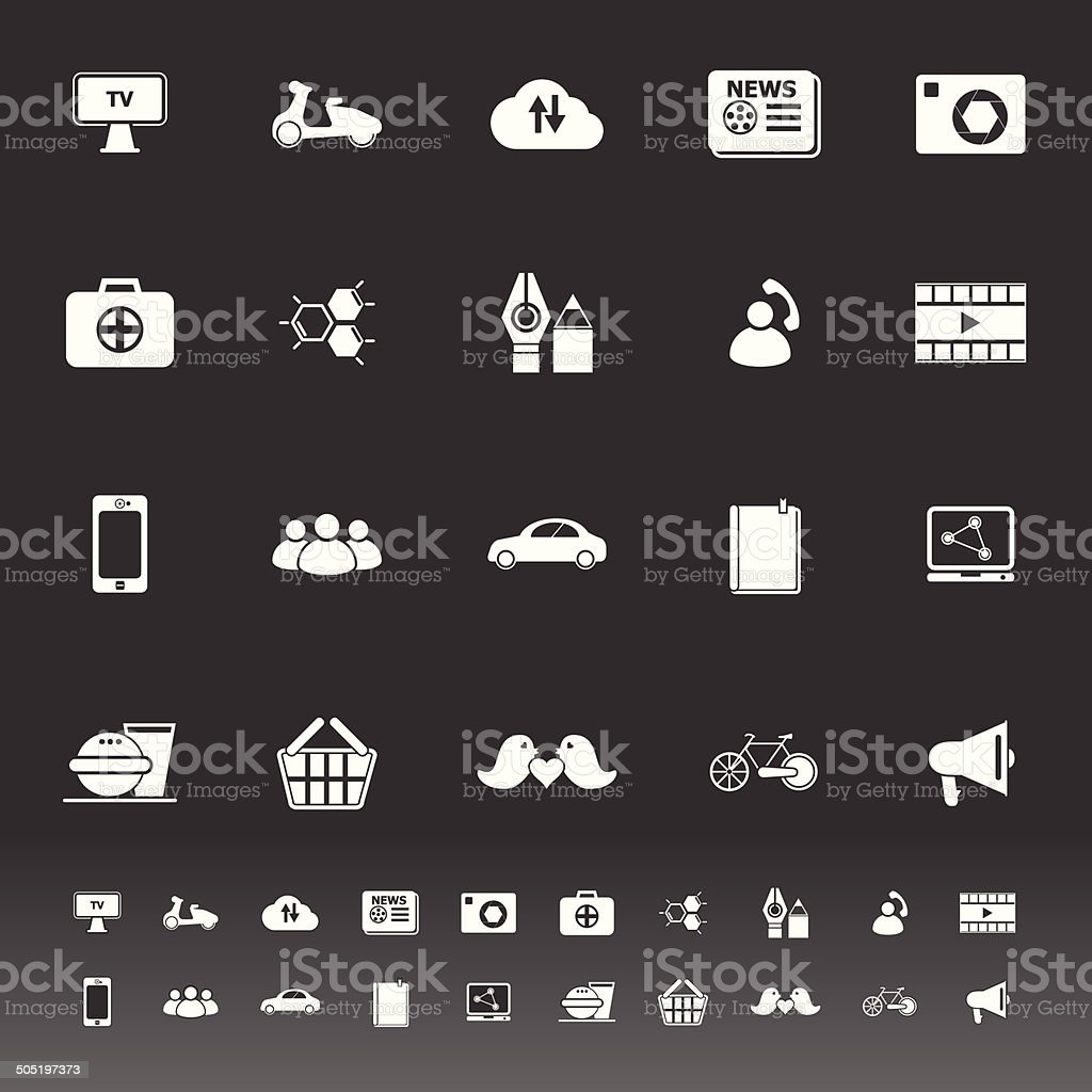 Social network icons on gray background vector art illustration