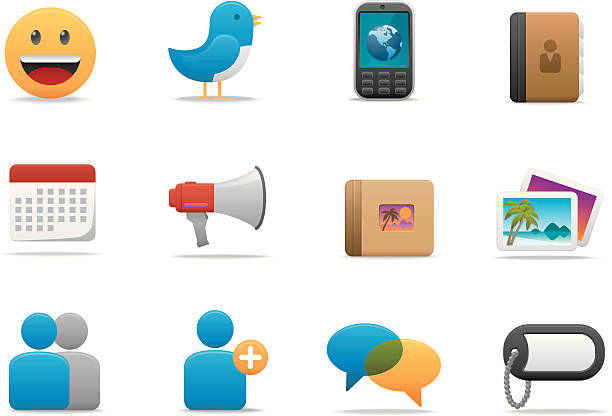 social network icons | premium matte series - birds calendar stock illustrations, clip art, cartoons, & icons