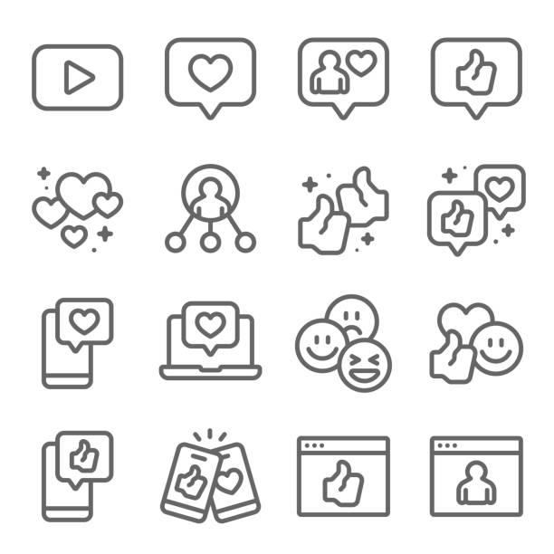 social network-symbole legen vektor-illustration fest. enthält ein symbol wie thumb up, like, share, love emoticon und mehr. erweiterter hub - feedback stock-grafiken, -clipart, -cartoons und -symbole