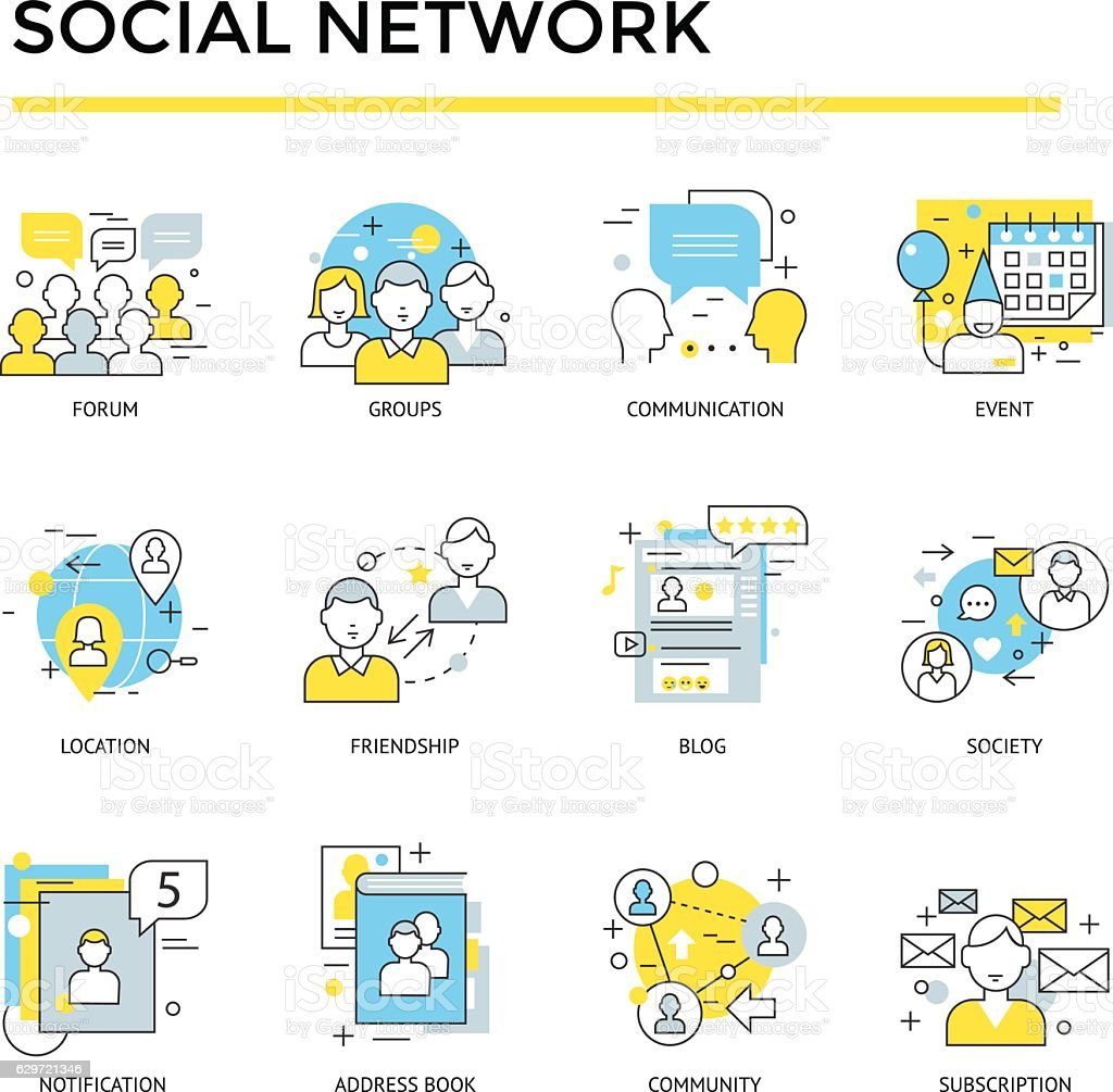 social network icons vector art illustration