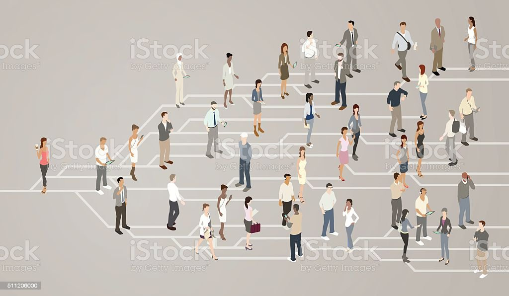 Social network illustration The concept of a social network is illustrated by showing a network of lines splitting off into nodes or branches. As the message spreads in viral fashion, detailed and illustrated men and women can be seen communicating and spreading the message further, until it has reached a crowd. Active Lifestyle stock vector