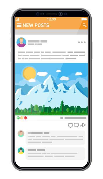 Vorlage für die Schnittstelle des sozialen Netzwerks auf dem Smartphone – Vektorgrafik