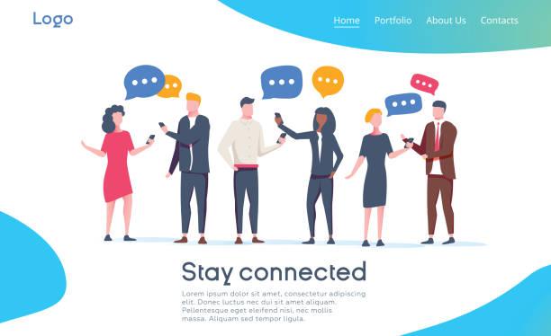 ilustrações de stock, clip art, desenhos animados e ícones de social network landing page template. group of young people characters chatting using smartphone for website or web page - questão social