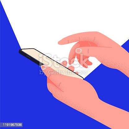 istock Social network life on your phone. Hand holding smartphone editable mockup. Place text into the illustration. Office life, play with phone instead of working. Waste time by hanging on social platforms 1191967536