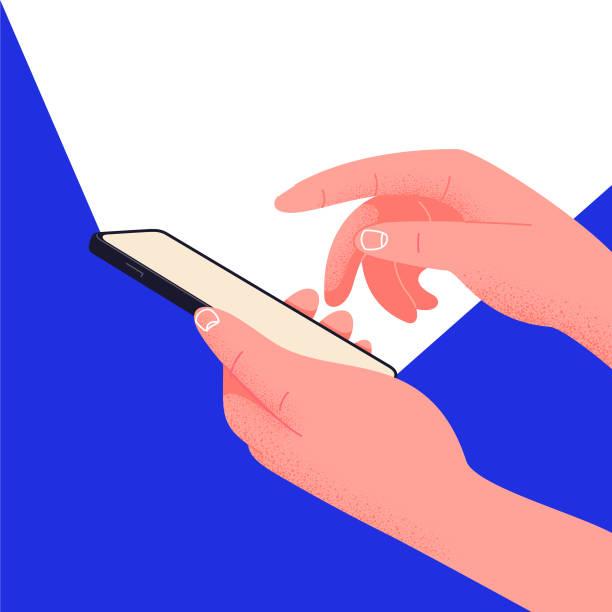 bildbanksillustrationer, clip art samt tecknat material och ikoner med sociala nätverk liv på din telefon. hand hålla smartphone redigerbar mockup. placera text i illustrationen. kontors liv, spela med telefonen istället för att arbeta. slösa tid genom att hänga på sociala plattformar - social media post template