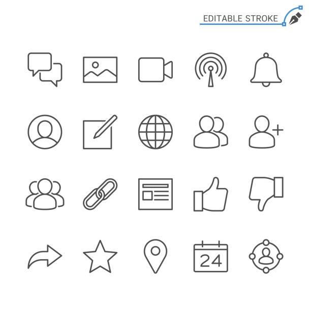 Social network line icons. Editable stroke. Pixel perfect. vector art illustration
