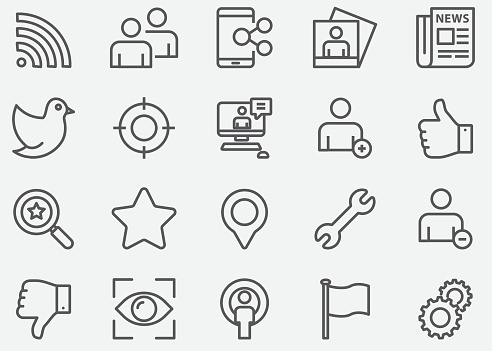 Social Network Line Icons