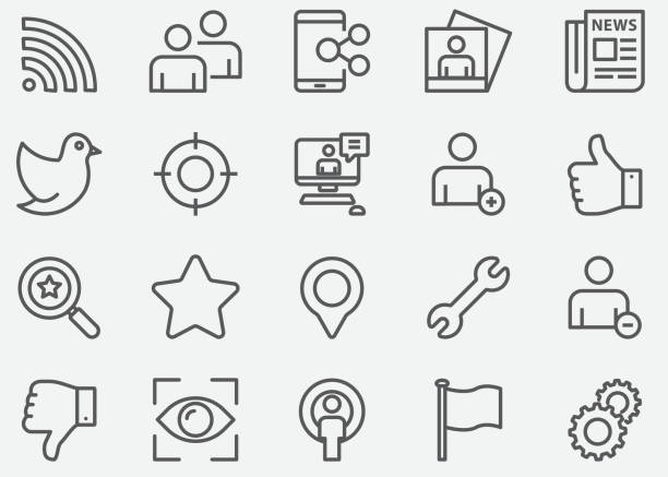 social network line icons - social media icons stock-grafiken, -clipart, -cartoons und -symbole