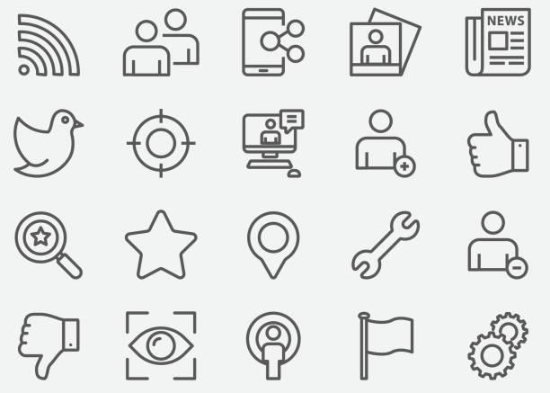illustrazioni stock, clip art, cartoni animati e icone di tendenza di social network line icons - foto