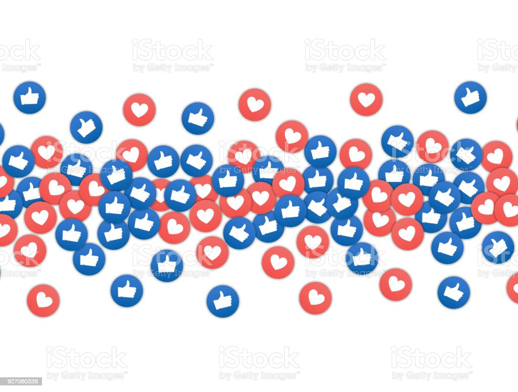 Social network marketing like and heart icon. Application social media background advertising