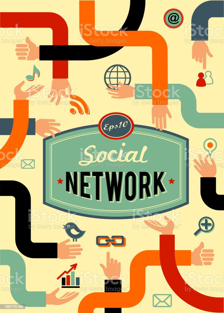 social network, media and communication in vintage style royalty-free stock vector art