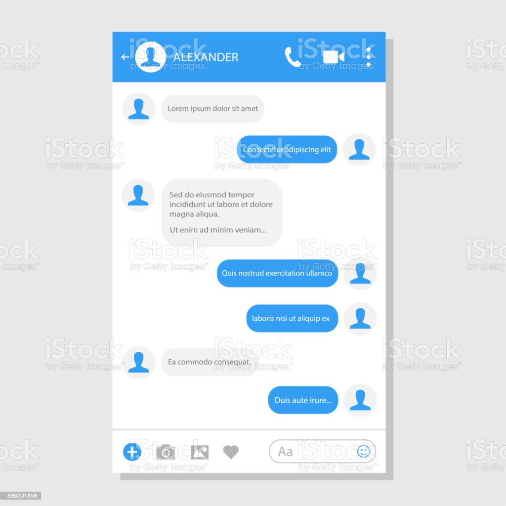 Social network messenger page template vector art illustration