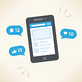 Social network notifications on mobile phone screen - new chat messages, new article likes and appreciations. Idea - Social networking.