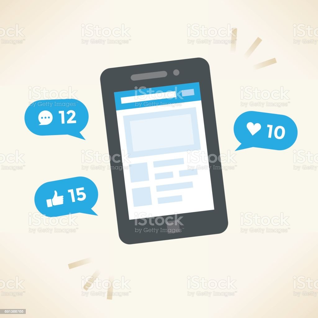 Social network notifications on mobile phone screen - new chat messages, new article likes and appreciations. Idea - Social networking. vector art illustration