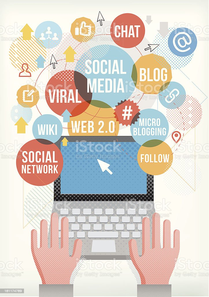 Social network on laptop royalty-free stock vector art