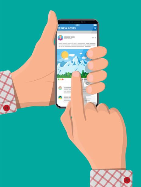 Soziales Netzwerk auf Smartphone-Bildschirm in der Hand – Vektorgrafik