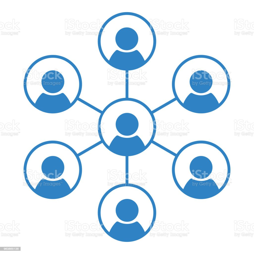 Social network people icon, team and teamwork icon. Blue silhouette. Vector illustration - Royalty-free Adult stock vector