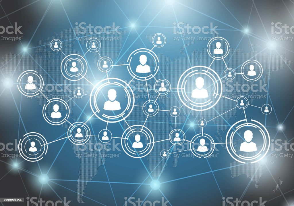 Social network people on world map connection by line stock vector people on world map connection by line royalty free social network gumiabroncs Image collections