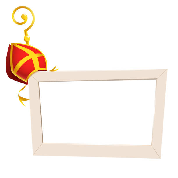 stockillustraties, clipart, cartoons en iconen met sociale netwerk fotolijstjes met sint nicolaas of sinterklaas thema gouden staf stok en verstek-geïsoleerd op transparante achtergrond - mijter