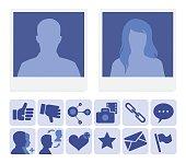 Social media icons illustration...