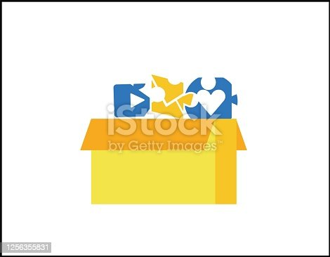 Social network puzzle background. Modern illustration slider site page. The concept of work in social networks. Web banner fold social network vector image. Add social networks like a puzzle design.