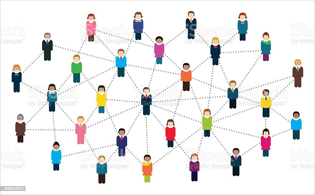 Social network scheme, which contains people connected to each other. vector art illustration