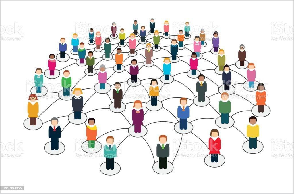 ソーシャル ネットワークスキームは、相互に接続されたユーザーを含みます。 - つながりのロイヤリティフリーベクトルアート