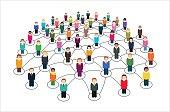 Multicolored vector illustration of social network.