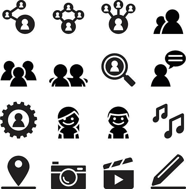 stockillustraties, clipart, cartoons en iconen met social network , social media icon set - drie personen