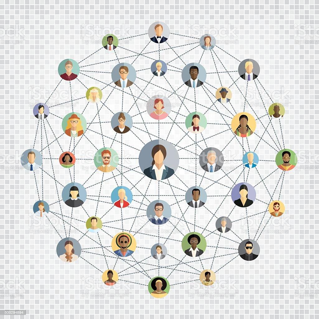 Social network sphere vector art illustration